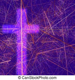 Abstract Easter Theme - -- the cross shines in a world of...