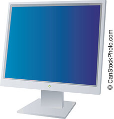 monitor - A flat screen monitor with a blue background...