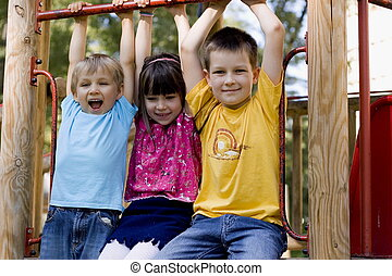 happy kids - children in a playground