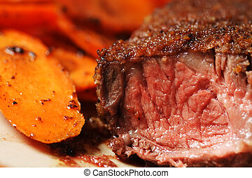 Beef steak - Fried beef steak with carrots on the side