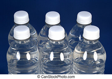 Hydrate Yourself - Six water bottles on a blue background
