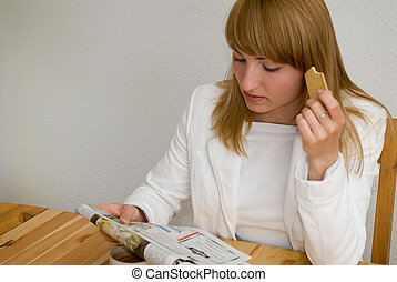 breakfast - young beautiful woman has breakfast with...