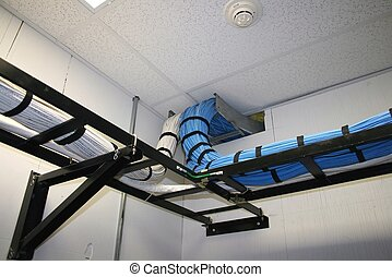Cables in rack - Voice and data cables in ladder rack in...