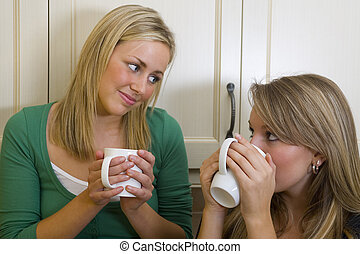 Friendly Advice - Two beautiful young women chatting over a...