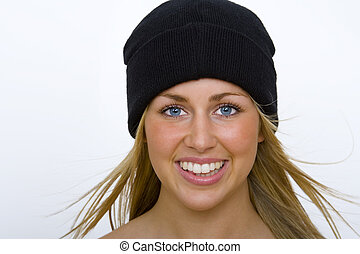 Blond In Black - A beautiful young blond woman in a black...