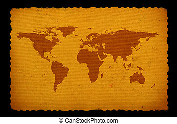 old stained world map