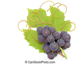 Cluster of a grapes on a background of a green sheet and...
