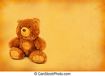 retro teddy bear with copy space
