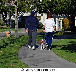 Couple Walking Their - A man and a woman walk their dog