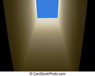 Skylight - Looking up through a residential ceiling skylight