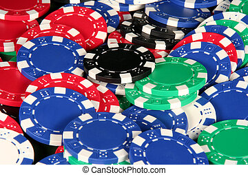 Casino Chips - Red, blue, green, black, and white poker...