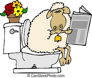 Sheep shit - This illustration depicts a sheep sitting on a...