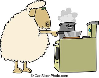 Sheep for dinner - This illustration depicts a sheep cooking...