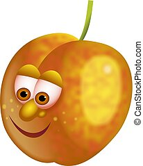mr apricot - a tasty yellow apricot with a cartoon face...