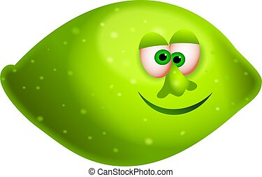 mr lime - a juicy green lime with a cartoon face isolated on...