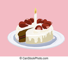 Birthday Cake - Birthday cake for one year on pink