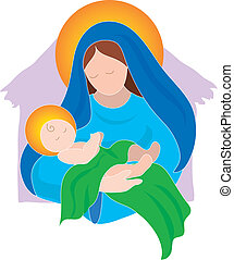 Mary and Baby - The Virgin Mary and the Baby Jesus