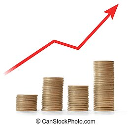 Sucess - Money stacks and red arrow on white background