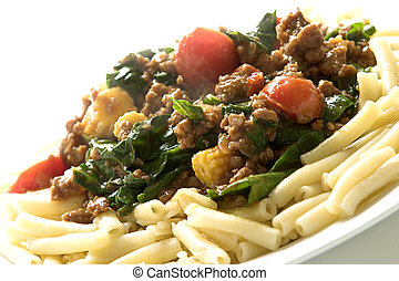 Pasta dish # 2 - Pasta with mince and tomato and spinach
