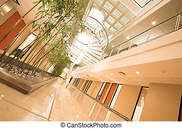 Office Building interior with spiral staircase