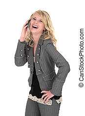 Madelien laughing over phone - Business woman suit talking...