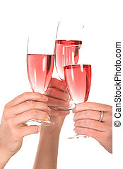 Business toast - Three woman toasting over a glass of bubbly
