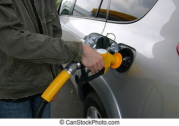 Filling Up with Fuel - Filling Up with gas or petrol at the...