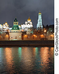 Kremlin wall - Russia, city Moscow, night river and Kremlin