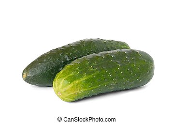 Cucumbers - Isolated green cucumbers on white background