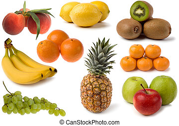 mixed fruits - mixed fresh fruits on white close up