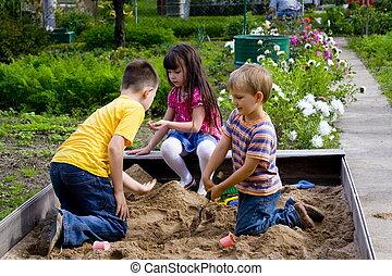 crianças,  sand-box