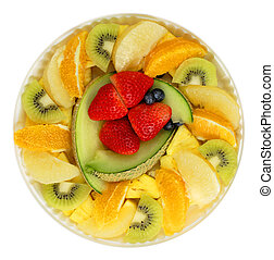 Fresh fruits - Plate with fresh fruits isolated over white...