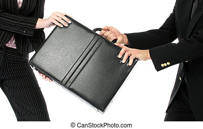 Argument - Business man and woman fighting over briefcase...