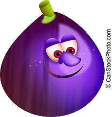 mr fig - a tasty purple fig with a cartoon face isolated on...