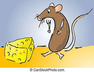 Mouse and cheese - Cartoon illustration of a mouse about to...