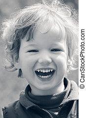 lycklig, skratta, barn