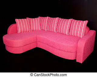 Pink sofa - Beautiful pink sofa with lot of strapped pillows