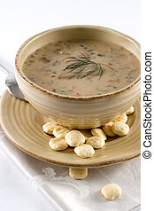 Mushroom soup - Mushroom creamy soup with crackers