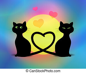 Valentine Cats - Cats in love digital illustration...