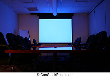 Meeting Room with Screen - Meeting Room with White Screen...