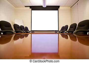reunião, sala, tela
