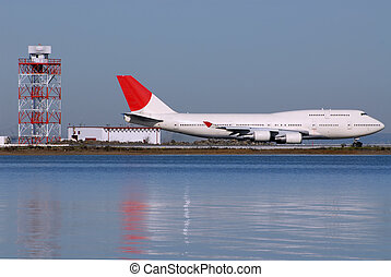 Jumbo jet on the runway at San Francisco International...