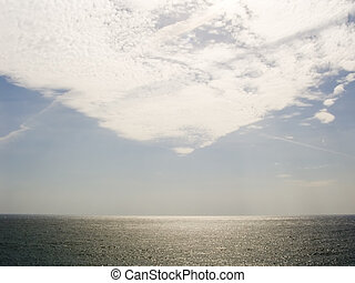 Freakish clouds on a surface of the sea
