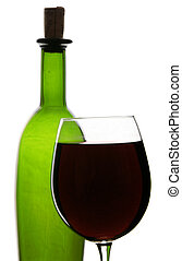 Red Wine - Red wine in glass with bottle and white...