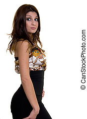 Beautiful brunette - side view of three quarter body of a...