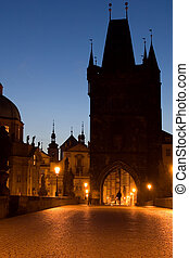 Walking on Charles b - Famous historical landmark in Prague...