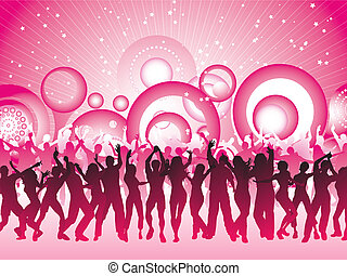 Huge party - Silhouettes of people dancing on retro...