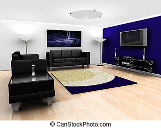 Contemporary lounge interior - 3D render of a contemporary...