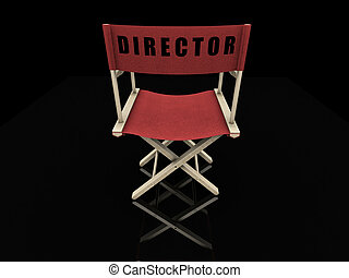Directors chair - 3D render of a directors chair on a black...