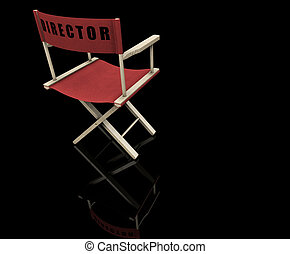 Directors chair - 3D render of a directors chair on black...